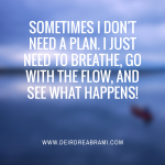 Sometimes I don't need a plan…